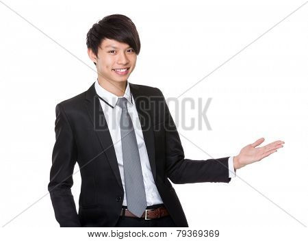 Asian Businessman with open hand palm