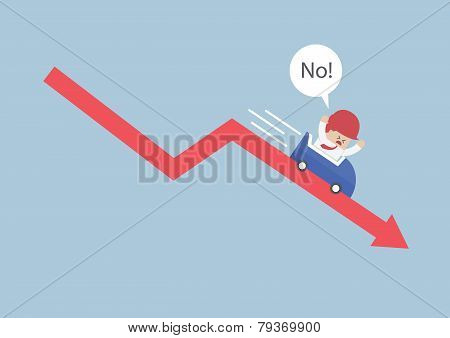 Businessman Going Down In A Roller Coaster Over Stock Market Arrow