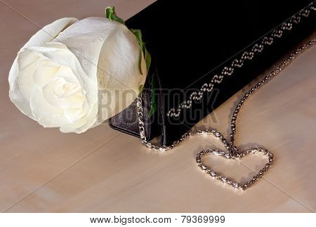 White rose and heart