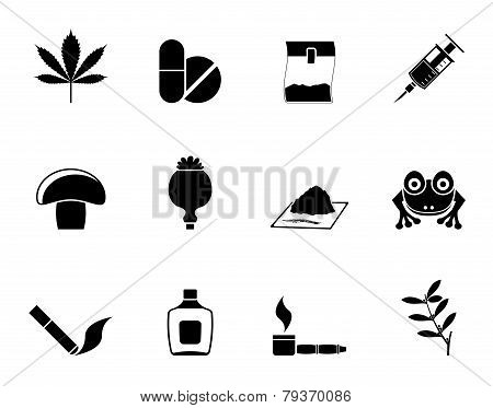 Silhouette Different kind of drug icons