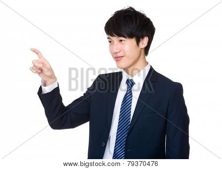 Businessman touch on imaginary panel