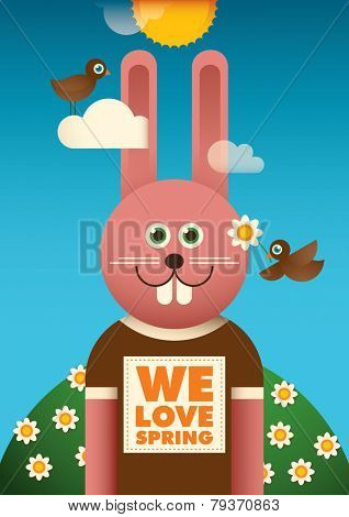 Illustrated spring poster with funny rabbit. Vector illustration