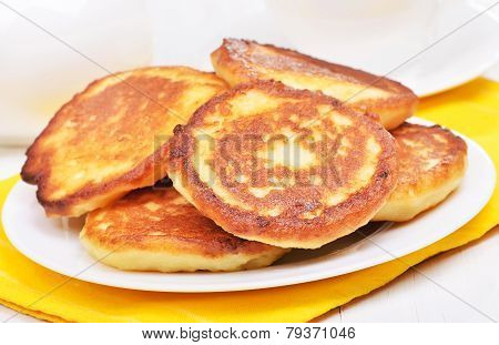 Homemade Fritters On White Plate