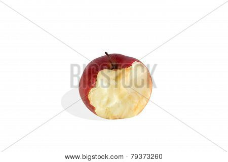 Red Bitten Off Apple Isolated On White Background