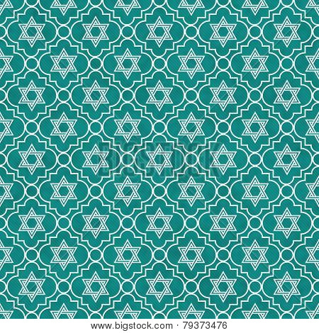 Teal And White Star Of David Repeat Pattern Background