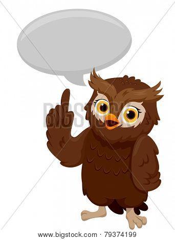 Illustration of an Owl Pointing to the Speech Bubble Above His Head