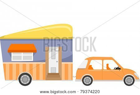 Illustration of a Trailer Home Being Pulled by a Car