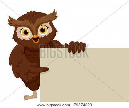 Illustration of a Smiling Owl Pointing to a Blank Board