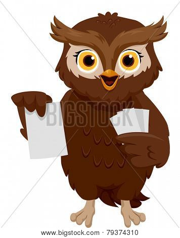 Illustration of an Owl Holding a Set of Flash Cards