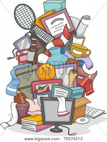 Illustration of a Huge Pile of Random Items Carelessly Thrown Together