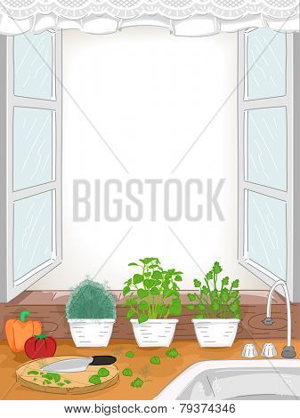 Illustration of a Kitchen With Pots of Herbs Placed Near the Sink