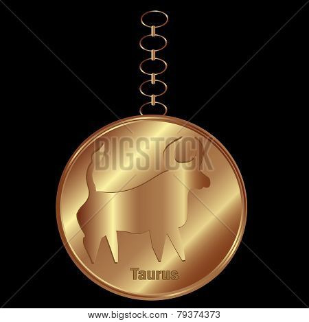 Object-Vector Bronze Charm For a Zodiac Sign