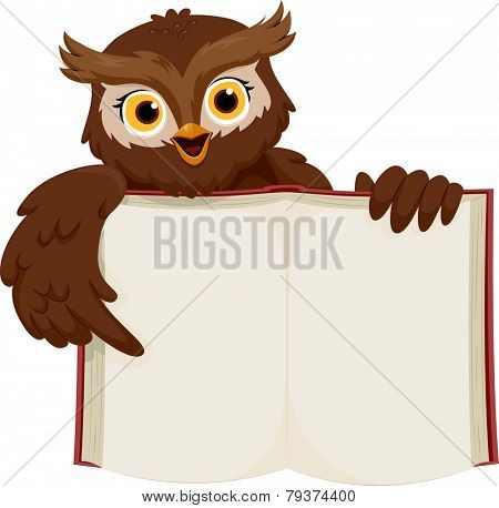 Illustration of a Smiling Owl Pointing at an Open Book