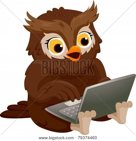 Illustration of an Owl Smiling Happily While Using His Laptop