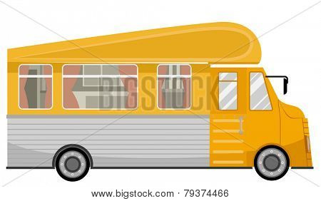 Illustration of a Yellow Trailer Home Traveling Around