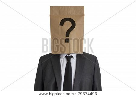 Man With Paper Bag With Question Mark On His Head