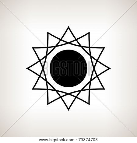 Silhouette sun  on a light background, vector illustration