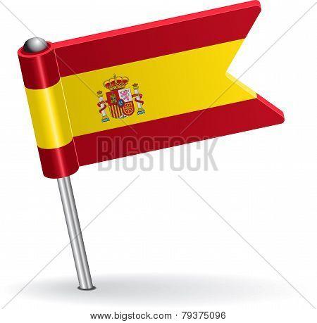 Spanish pin icon flag. Vector illustration