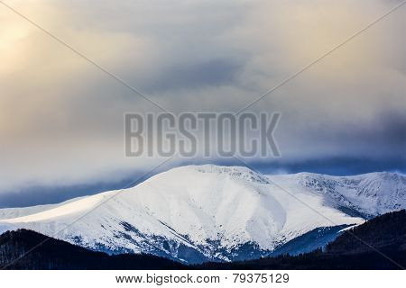 Beautiful scenery winter snow covered mountain