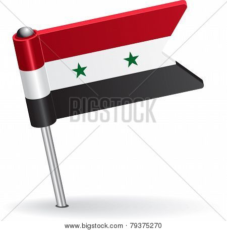 Syria pin icon flag. Vector illustration