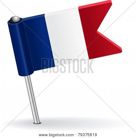 French pin icon flag. Vector illustration