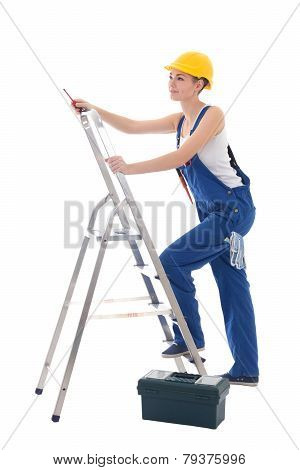 Young Woman Electrician In Workwear With Toolbox, Screwdriver And Ladder Isolated On White