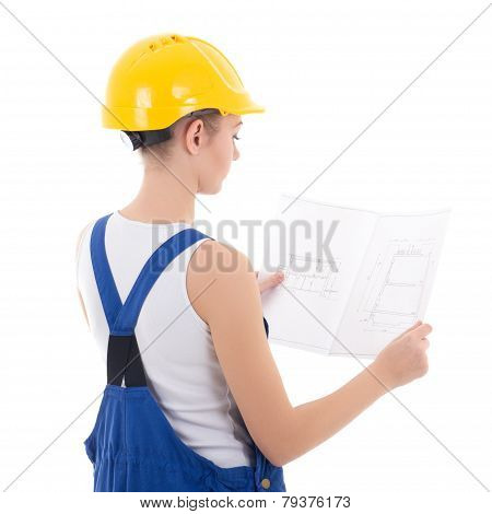 Back View Of Woman Builder In Blue Coveralls With Scheme Isolated On White