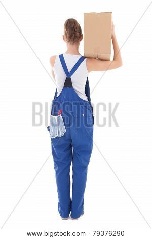 Back View Of Young Attractive Woman In Blue Coveralls With Cardboard Box Isolated On White