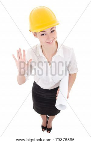 Funny Business Woman Architect In Yellow Builder Helmet Showing Hello Sign Isolated On White