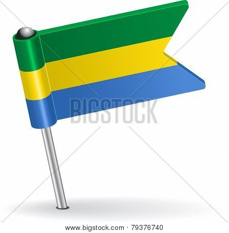 Gabon pin icon flag. Vector illustration