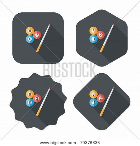 Billiards Flat Icon With Long Shadow