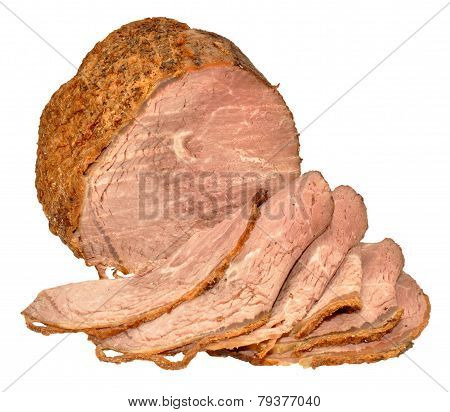 Carved Roast Beef Isolated On White