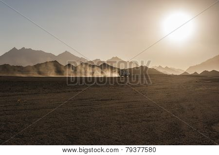 Off Road Safari In Desert With Sunset