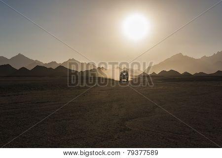 Off Road Safari In Desert With Sunset