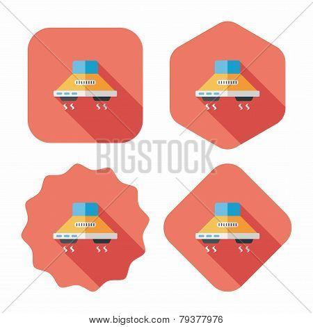Kitchenware Range Hood  Flat Icon With Long Shadow,eps10