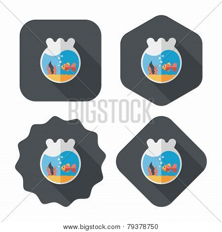 Pet Goldfish Bowl Flat Icon With Long Shadow,eps10