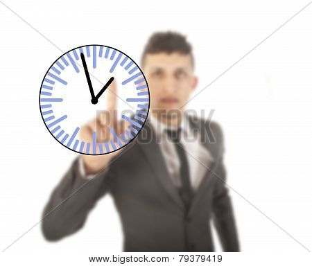 Young Businessman With Clock Isolated On White Background
