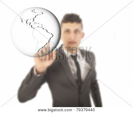 Young Businessman With Earth Globe Isolated On White Background