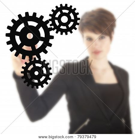Young Businesswoman With Black Gears Isolated On White Background