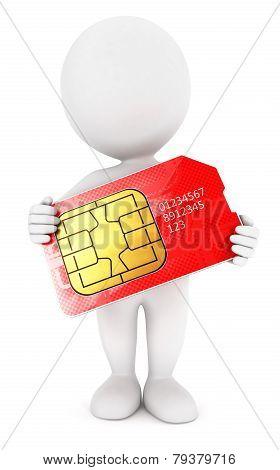 3d white people sim card
