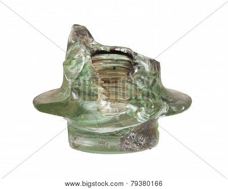 Glass Insulator Destroyed By Exposure To Short-circuit Current
