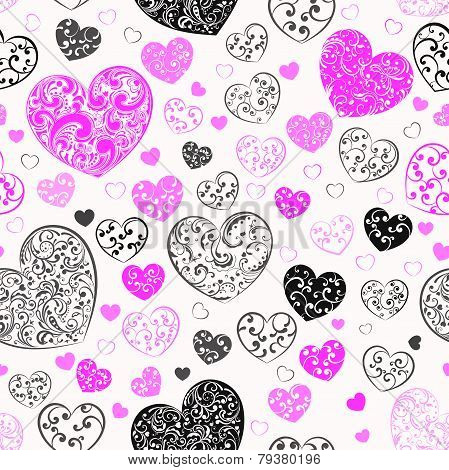 Seamless Pattern Of Hearts