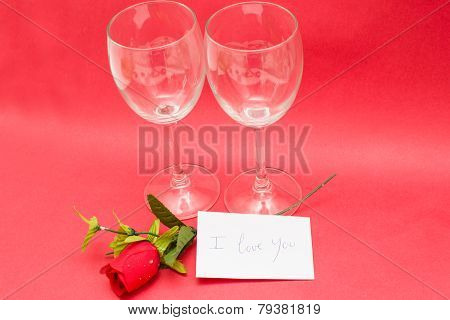 Crystal glasses and roses