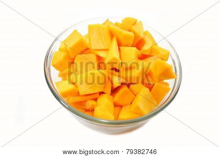 Cubed Raw Butternut Squash In A Bowl