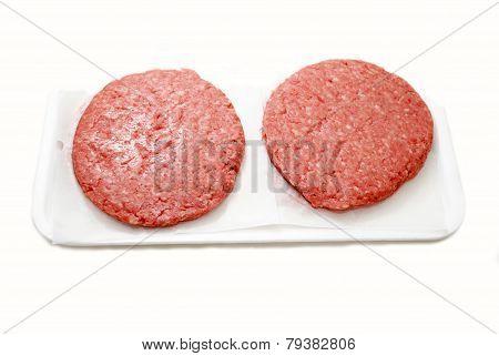Raw Hamburger Patties On A Foam Tray