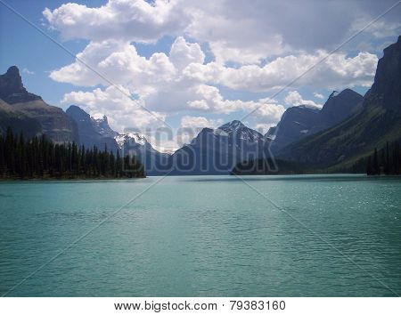 Glacial Lake In Rocky Mountains