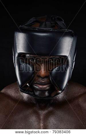 Strong African Man Wearing Head Protector