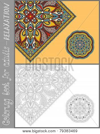 unique coloring book page for adults - flower paisley design