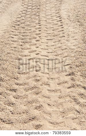 Closeup Of 4X4 Tyre Tracks In The Desert