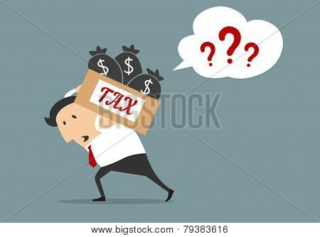 Businessman With Tax Box Flat Concept
